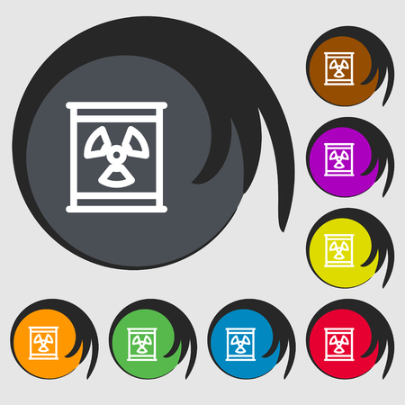 nuclear fear: Radiation icon sign. Symbols on eight colored buttons. Vector illustration Illustration