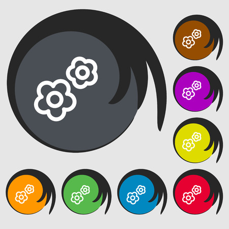 rackwheel: gear icon sign. Symbols on eight colored buttons. Vector illustration