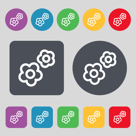 robotic transmission: gear icon sign. A set of 12 colored buttons. Flat design. Vector illustration