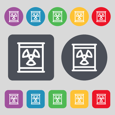 caution chemistry: Radiation icon sign. A set of 12 colored buttons. Flat design. Vector illustration Illustration