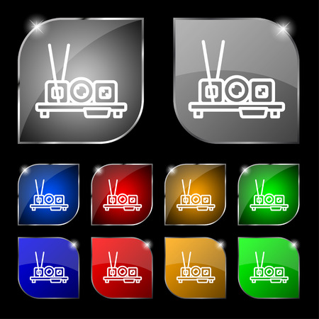 egg roll: sushi icon sign. Set of ten colorful buttons with glare. Vector illustration Illustration