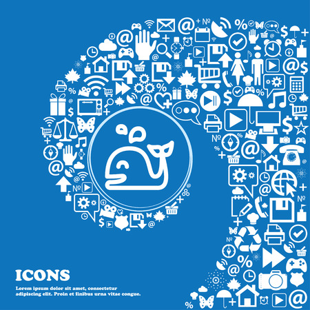 cetaceans: Whale icon sign. Nice set of beautiful icons twisted spiral into the center of one large icon. Vector illustration
