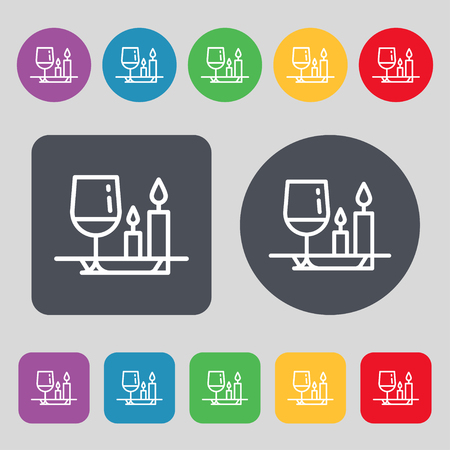 holidays for couples: valentines day meal icon sign. A set of 12 colored buttons. Flat design. Vector illustration