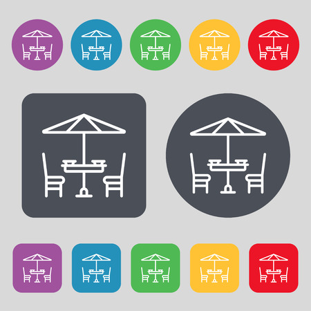 porch chair: table with umbrella sign. A set of 12 colored buttons. Flat design. Vector illustration