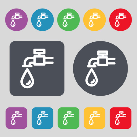 spigot: Water tap icon sign. A set of 12 colored buttons. Flat design. Vector illustration