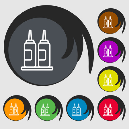 dipped: Melted chocolate, cream, butter swirl icon sign. Symbols on eight colored buttons. Vector illustration