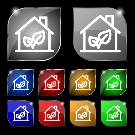 locality: BIO HOUSES ICON sign. Set of ten colorful buttons with glare. Vector illustration