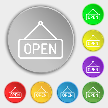 open icon sign. Symbol on eight flat buttons. Vector illustration Illustration