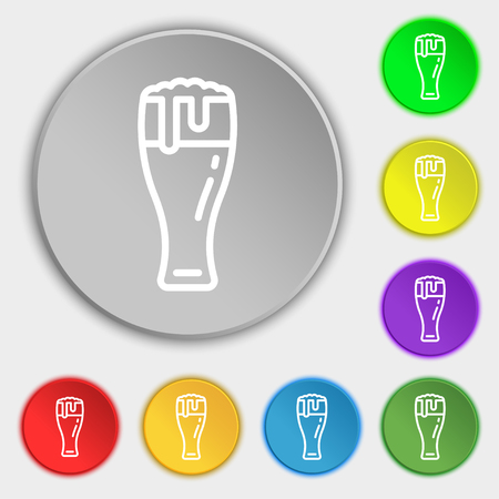 Beer glass icon sign. Symbol on eight flat buttons. Vector illustration Illustration