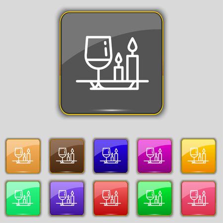 pareja comiendo: icono de la muestra comida del día de San Valentín. Set con once botones de colores para su sitio. ilustración vectorial