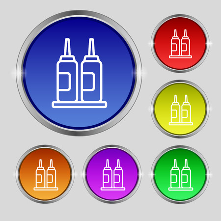 dipped: Melted chocolate, cream, butter swirl icon sign. Round symbol on bright colourful buttons. Vector illustration