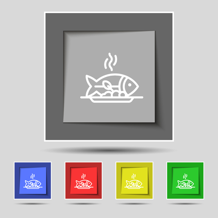 spit: Hot Fish grill icon sign on original five colored buttons. Vector illustration Illustration