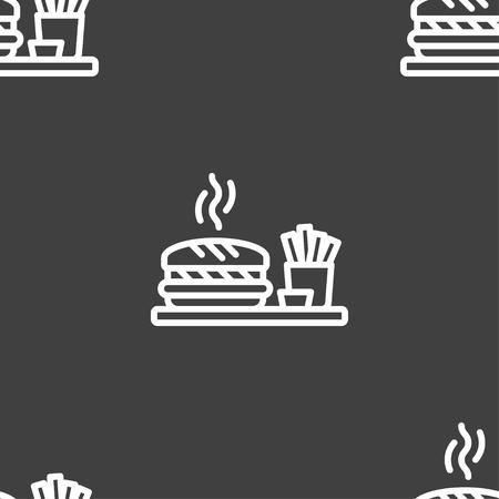 forbidden love: Hamburger sign. Seamless pattern on a gray background. Vector illustration Illustration