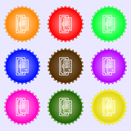 cheque icon sign. Big set of colorful, diverse, high-quality buttons. Vector illustration