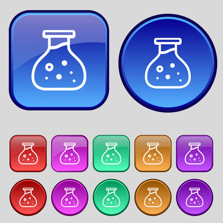 seething: Chemical Icon sign. A set of twelve vintage buttons for your design. Vector illustration