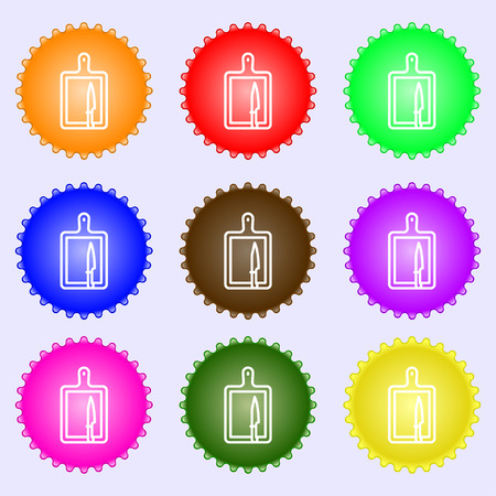 board and knife icon sign. Big set of colorful, diverse, high-quality buttons. Vector illustration