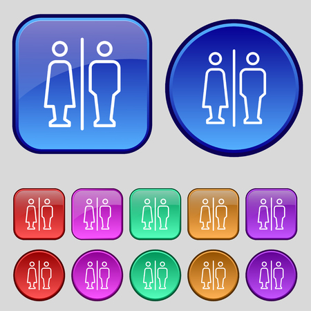loo: Man & Woman restroom icon sign. A set of twelve vintage buttons for your design. Vector illustration