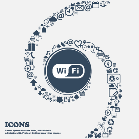 Wireless Network icon in the center. Around the many beautiful symbols twisted in a spiral. You can use each separately for your design. Vector illustration Illustration