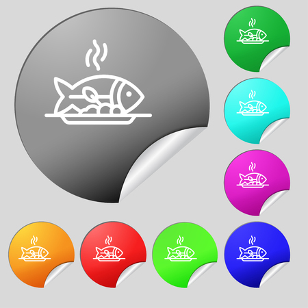 Hot Fish grill icon sign. Set of eight multi colored round buttons, stickers. Vector illustration