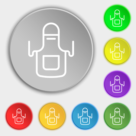 homemaker: Kitchen apron icon sign. Symbol on eight flat buttons. Vector illustration Illustration