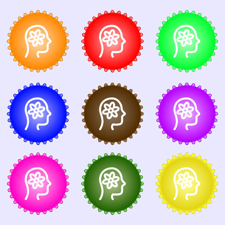 black man thinking: Pictograph of gear in head icon sign. Big set of colorful, diverse, high-quality buttons. Vector illustration