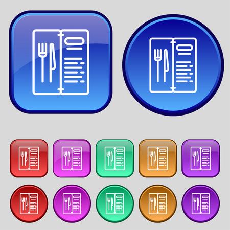 web portal: menu icon sign. A set of twelve vintage buttons for your design. Vector illustration