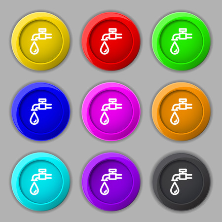 run off: Water tap icon sign. symbol on nine round colourful buttons. Vector illustration