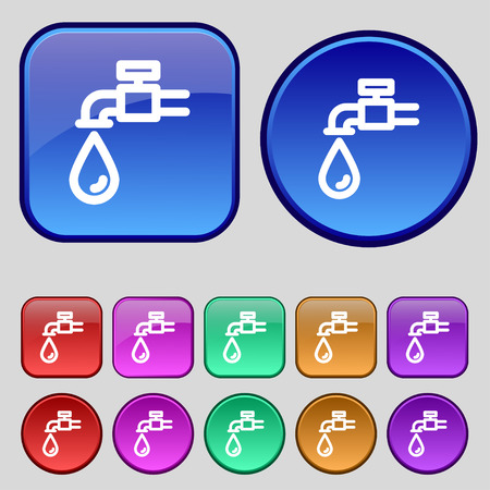 running off: Water tap icon sign. A set of twelve vintage buttons for your design. Vector illustration Illustration