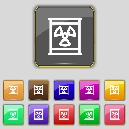 plutonium: Radiation icon sign. Set with eleven colored buttons for your site. Vector illustration