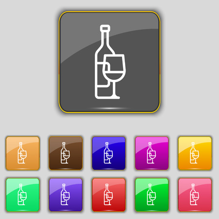 bocal: Wine bottle and wine glass icon sign. Set with eleven colored buttons for your site. Vector illustration