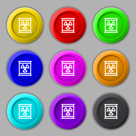 plutonium: Radiation icon sign. symbol on nine round colourful buttons. Vector illustration Illustration