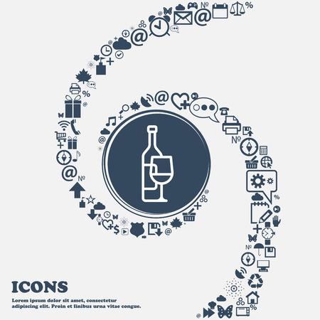 Icona di bottiglia di vino e bicchiere di vino al centro. Intorno i tanti bei simboli contorti a spirale. Puoi usarli separatamente per il tuo design. Illustrazione vettoriale