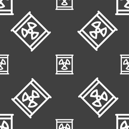 caesium: Radiation icon sign. Seamless pattern on a gray background. Vector illustration Illustration