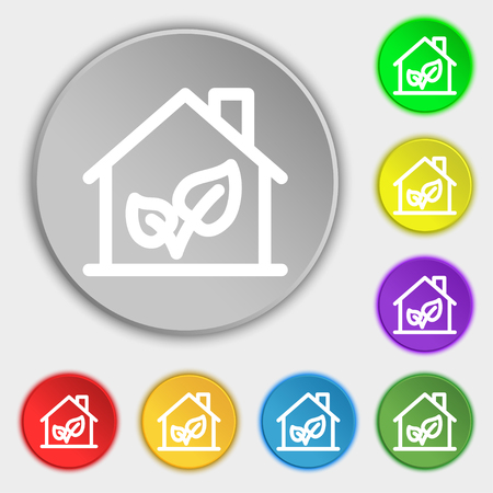 locality: BIO HOUSES ICON sign. Symbol on eight flat buttons. Vector illustration Illustration