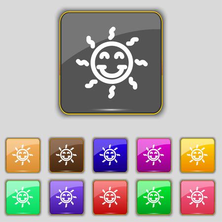 gelukkige zon teken pictogram. Stel met elf gekleurde knoppen voor uw site. vector illustratie Stock Illustratie