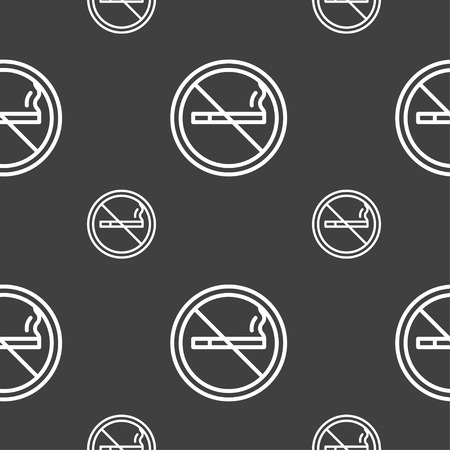 smoldering: No smoking icon sign. Seamless pattern on a gray background. Vector illustration