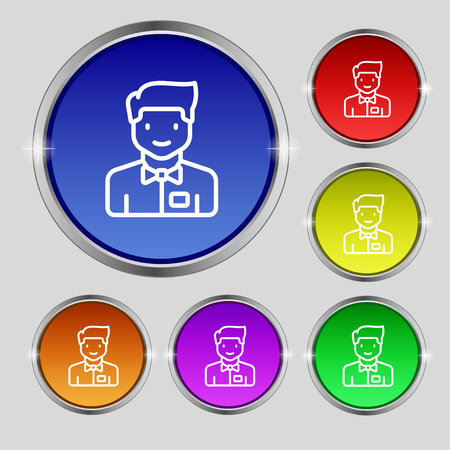 wench: Waiter icon sign. Round symbol on bright colourful buttons. Vector illustration Illustration