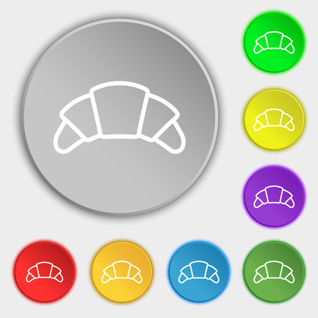 croissant bread icon sign. Symbol on eight flat buttons. Vector illustration Illustration