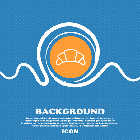www tasty: croissant bread icon sign. Blue and white abstract background flecked with space for text and your design. Vector illustration