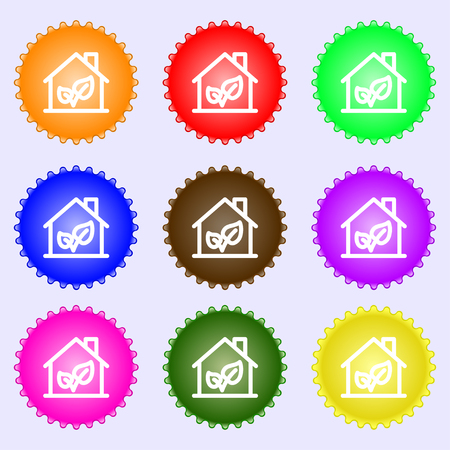 locality: BIO HOUSES ICON sign. Big set of colorful, diverse, high-quality buttons. Vector illustration