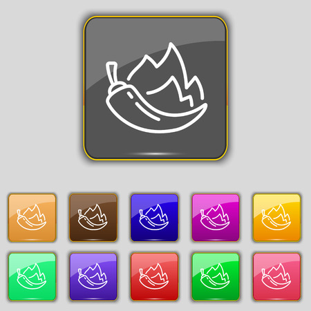 burning paper: chilli pepper icon sign. Set with eleven colored buttons for your site. Vector illustration