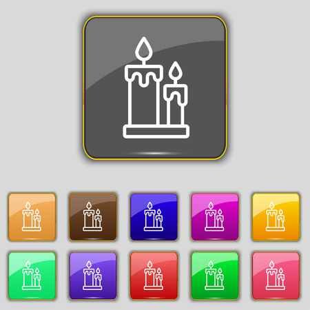 vigil: Candle icon sign. Set with eleven colored buttons for your site. Vector illustration