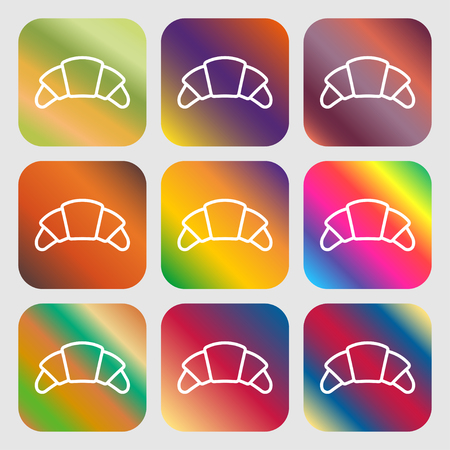 www tasty: croissant bread icon sign. Nine buttons with bright gradients for beautiful design. Vector illustration