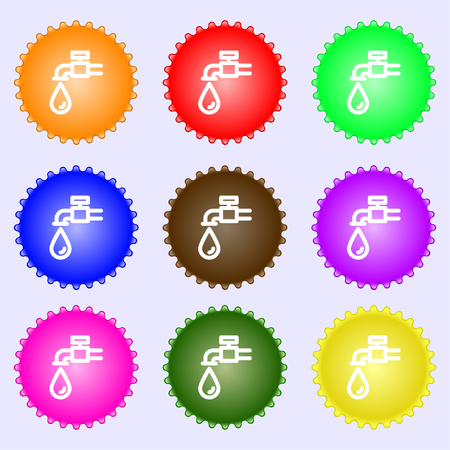Water tap icon sign. Big set of colorful, diverse, high-quality buttons. Vector illustration Illustration