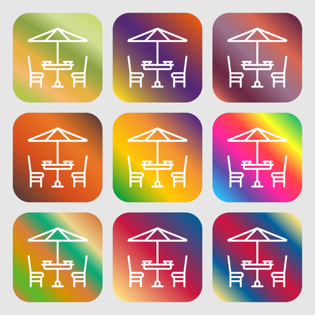 porch chair: table with umbrella sign. Nine buttons with bright gradients for beautiful design. Vector illustration Illustration