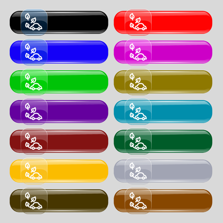 eco car icon sign. Set from fourteen multi-colored glass buttons with place for text. Vector illustration