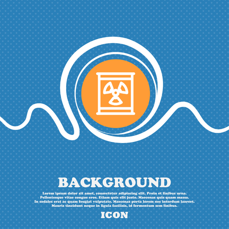 plutonium: Radiation icon sign. Blue and white abstract background flecked with space for text and your design. Vector illustration