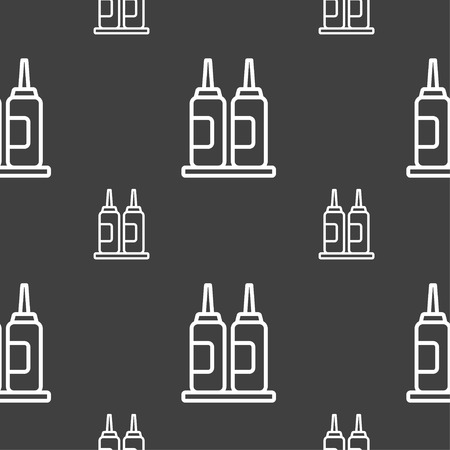 trickle: Melted chocolate, cream, butter swirl icon sign. Seamless pattern on a gray background. Vector illustration