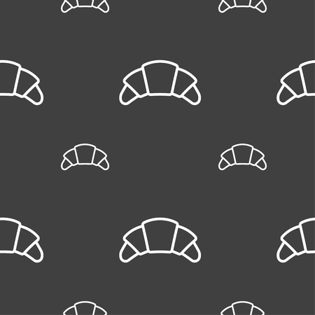 www tasty: croissant bread icon sign. Seamless pattern on a gray background. Vector illustration