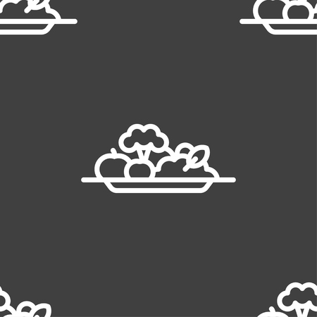 vegetables icon sign. Seamless pattern on a gray background. Vector illustration